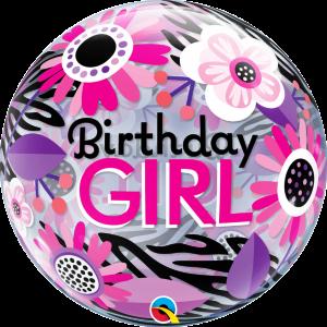 "Bubble 22"" Birthday Girl Floral Zebra Stripes (Pkgd.), QBB-13738 (0) <10 個/包>"