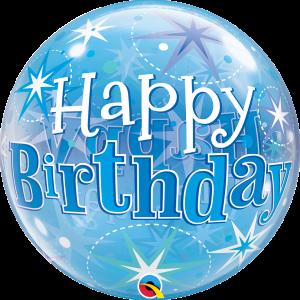 "Bubble 22"" Birthday Blue Starburst Sparkle (Pkgd.), QBB-48433 (0) <10 個/包>"
