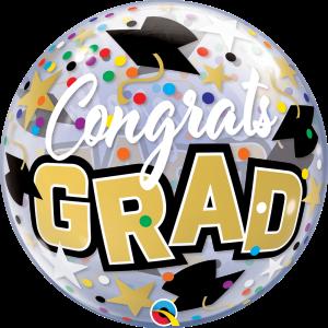 """Bubble 22"""" Congrats Grad Stars & Dots (Pkgd.), QBB-82523 (0-G*)"""
