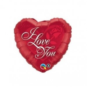 "9"" Foil Heart - I Love You Red Rose / Air-fill , #QF09HI29148"