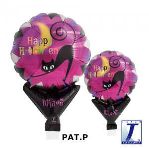 "Upright Balloon 5""/ Printed_Halloween Cat & Moon (Non-Pkgd.), TK-UPB-I810560  <10 個/包>"