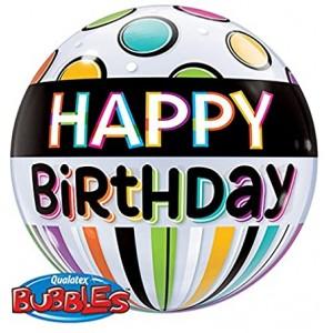 "Bubble 22"" Birthday Black Band & Dots (Pkgd.), QBB-25720 (0) <10 個/包>"