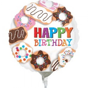 "Anagram Foil - Mini Shape- 9"" Donuts Happy Birthday / Air-fill , A-A15-30872"