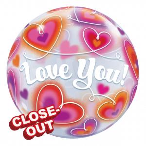 """Bubble 22"""" Love You Doodle Hearts (Pkgd.), QBB-34072 (D)"""