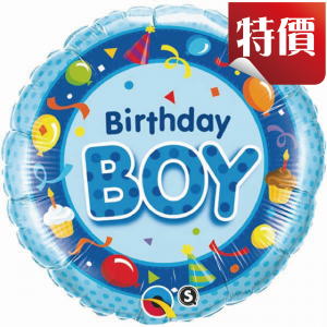 "18"" Foil Birthday Boy / Blue (pkgd.), QF18RI26269 (2)"