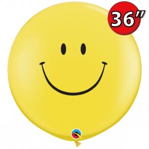 "36"" (3') Smile Face (BL)  - Yellow (2ct) , QL36RI29211 (3)"