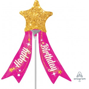 Anagram Foil -Mini Shape- HBD Magical Star with Ribbon , A-A30-33822
