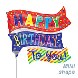"Anagram Foil -Mini Shape- 10"" HBD Fun Flags , A-A30-35662"