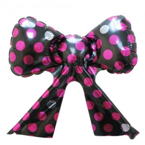 Foil - Ribbon Polka Dot (Black w/Magenta ) , TK-RB-22517