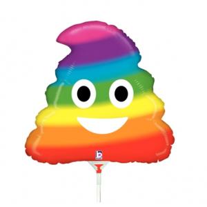 """Betallic Foil -Mini Shape- 14"""" Emoji Rainbow Poo , B-14-19681"""
