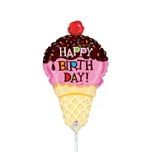 "Betallic Foil -Mini Shape- 14"" Ice Cream Birthday , B-14-19891"
