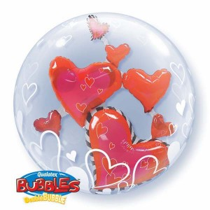 "Double Bubble 24"" Lovely Floating Hearts , *QBD-68808"