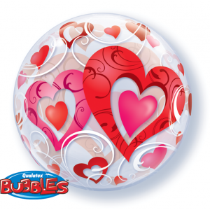 "Bubble 22"" Red Hearts & Filigree , QBB-33909"