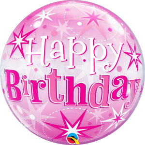 "Bubble 22"" Birthday Pink Starburst Sparkle , QBB-43121"