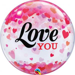 """Bubble 22"""" Love You Confetti Hearts (Pkgd.), QBB-54604 (0) <10 個/包>"""