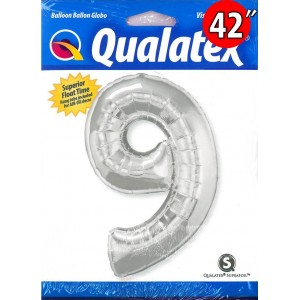 "Number Silver 數字【9】42"" , QF42NP30433 <Helium #C>"