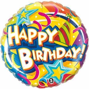 """18"""" Foil Birthday Hat & Stars (pkgd.) , QF18RI10387(PK)"""