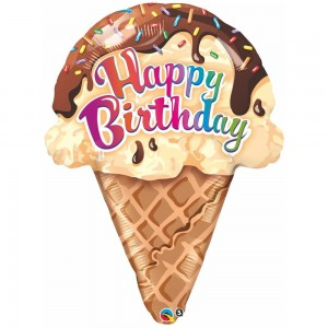 "27"" Foil Birthday Ice cream Cone (pkgd.) , QF27SI16400"