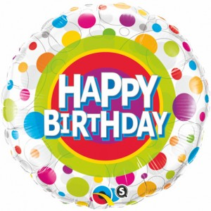 "18"" Foil Happy Birthday Colorful Dots (pkgd.) , QF18RI41136"