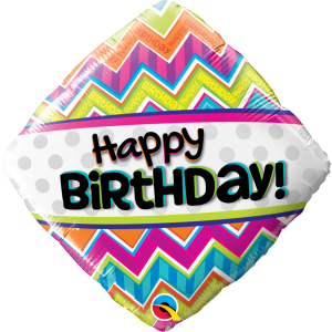 "18"" Foil Birthday Chevron Patterns (pkgd.) , QF18RI14687"