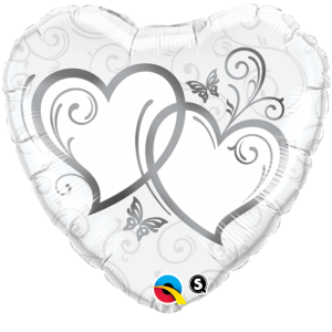 """18"""" Foil Heart - Entwined Hearts / Silver (pkgd.) , QF18RI15746"""