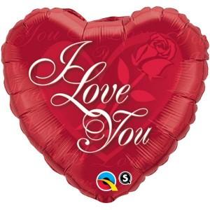 "18"" Foil Heart - I Love You Red Rose (pkgd.) , QF18HI24489"