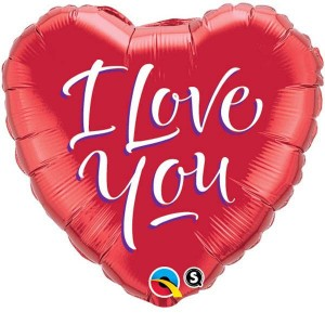 "18"" Foil Heart - I Love You Script Modern (pkgd.) , *QF18HI29133"