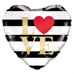 "18"" Foil L(Heart)VE Horizontal Stripes (pkgd.) , QF18HI21748(PK)"