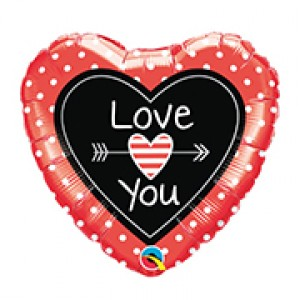 "18"" Foil Love You Dots & Arrows , QF18HI54841"