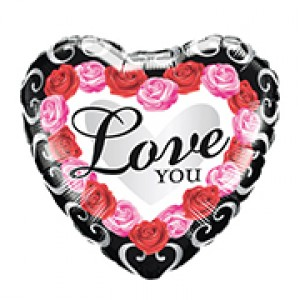"18"" Foil Love You Red Rose Frame , QF18HI54852"