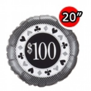 "20"" Foil $100 Poker Chip , #QF20SI98256"