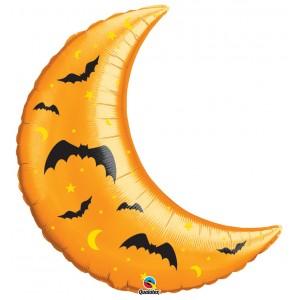 """35"""" Foil Crescent Moon & Bats , #QF35SI32002"""