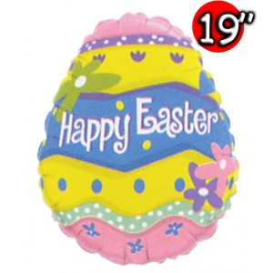 """19"""" Foil Happy Easter Egg , #QF19SI71384"""