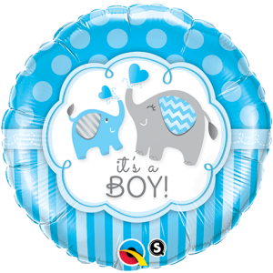 "18"" Foil It's A Boy Elephants - (pkgd.) , *QF18RI45109"