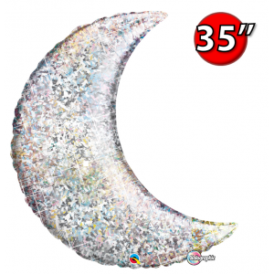 """Crescent Moon 35"""" Holographic Silver , *QF35SP50073 <Helium #C>"""
