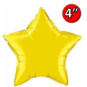 "Foil Star 4"" Citrine Yellow / Air-Fill (non-pkgd.), QF04SP22882 (0) <10 個/包>"