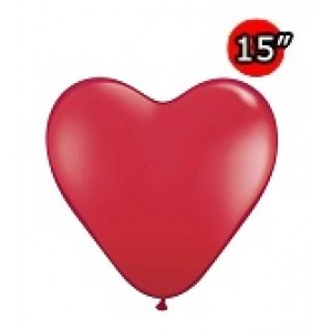 "Heart 15"" Ruby Red (50ct) , *QL15HJ24021"