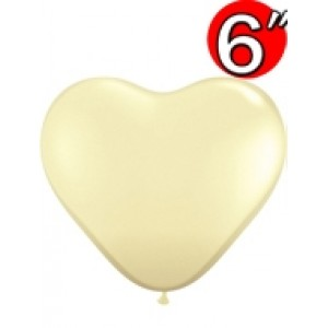 "Heart  6"" Ivory Silk , QL06HF48586(3)"