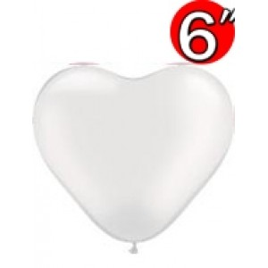 "Heart  6"" Pearl White , *QL06HP17732"