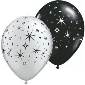 """11"""" Sparkles & Swirls - Silver & Onyx Black (50ct) , *QL11RI12579"""