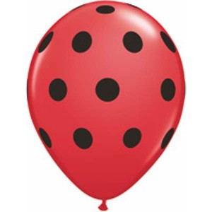 "11"" Big Polka Dots - Red w/ Black Ink (50ct) , *QL11RI37221"