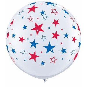 "36"" (3') Red & Blue Stars - White (2ct) , *QL36RI29203"