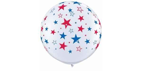 """36"""" (3') Red & Blue Stars - White (2ct) , *QL36RI29203"""