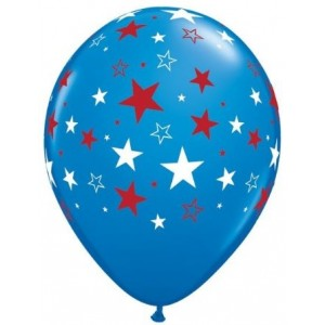 "11"" Red & White Stars - Dark Blue (50ct) , *QL11RI35199"
