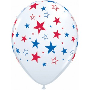 "11"" Red & Blue Stars - White (50ct) , QL11RI35498"