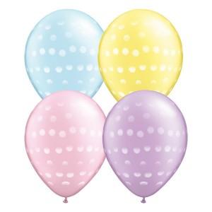 """11"""" Polka Dot / Pastel Pearl Ast'm (50ct) , QL11RI37079"""