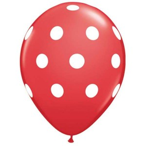 "11"" Big Polka Dots - Red (50ct) , *QL11RI37208"