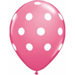 "11"" Big Polka Dots - Rose (50ct) , *QL11RI37222"