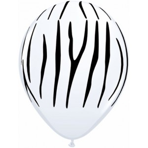 "11"" Zebra Stripes - White (50ct) , *QL11RI55477"