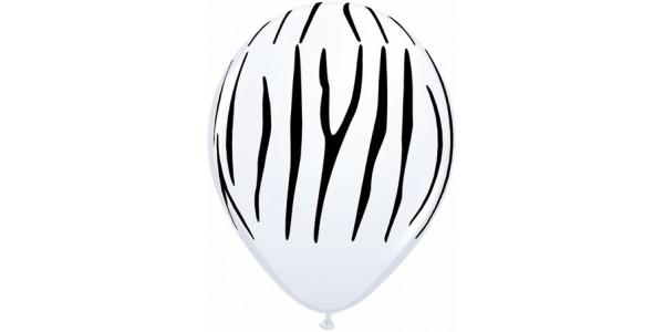 """11"""" Zebra Stripes - White (50ct) , *QL11RI55477"""